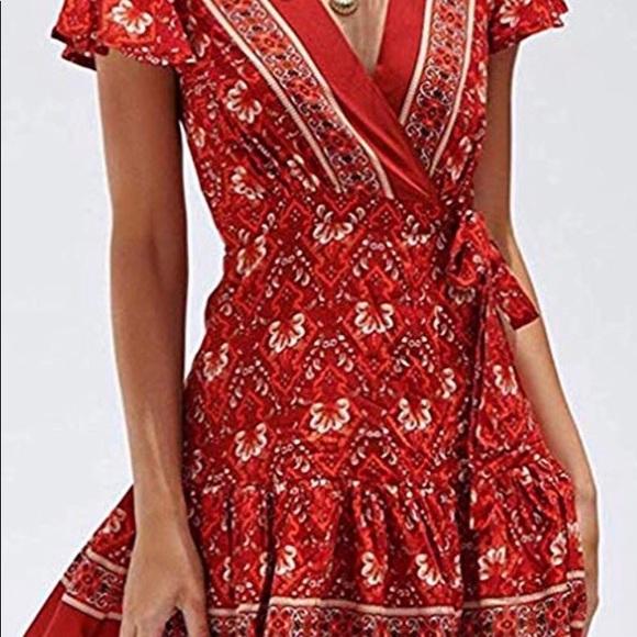 Red/Burnt Orange Floral Print Boho Dress